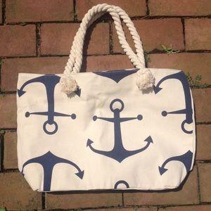 Handbags - Anchor summer nautical tote bag purse blue beach